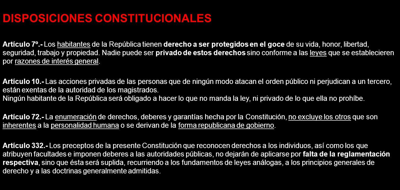 DISPOSICIONES CONSTITUCIONALES Artículo 7º.- Los habitantes de la República tienen derecho a ser protegidos en el goce de su vida, honor, libertad, se