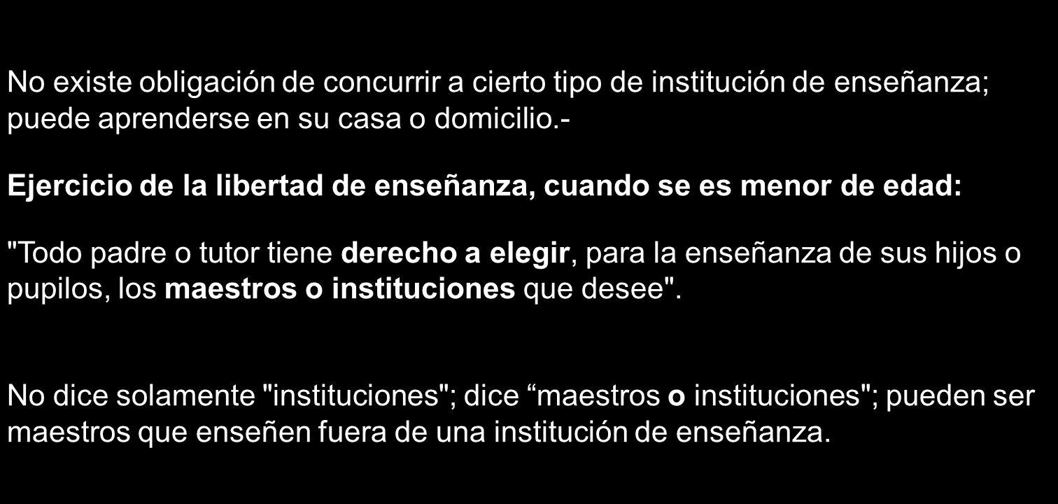 No existe obligación de concurrir a cierto tipo de institución de enseñanza; puede aprenderse en su casa o domicilio.- Ejercicio de la libertad de ens