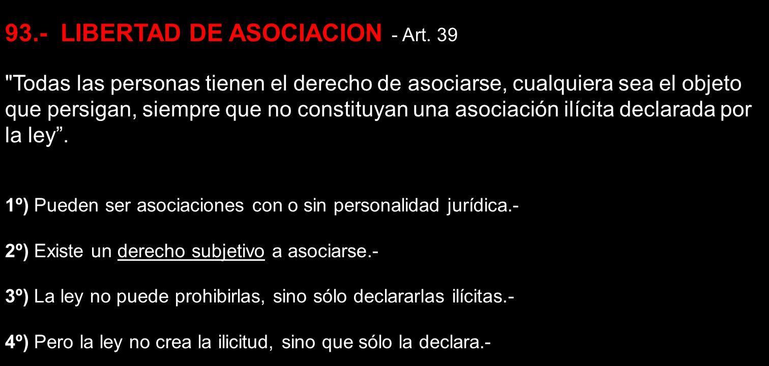 93.- LIBERTAD DE ASOCIACION - Art. 39