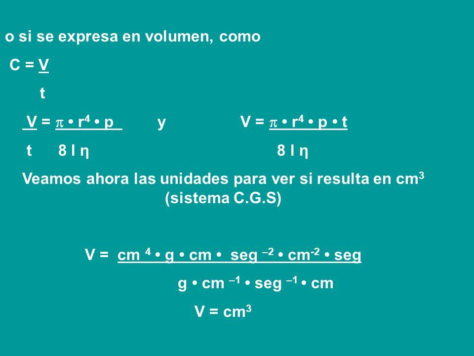 Existe una expresión determinada por Poiseuille, con la cual se puede calcular la viscosidad de un líquido. En función de ésta, se establece que cuand