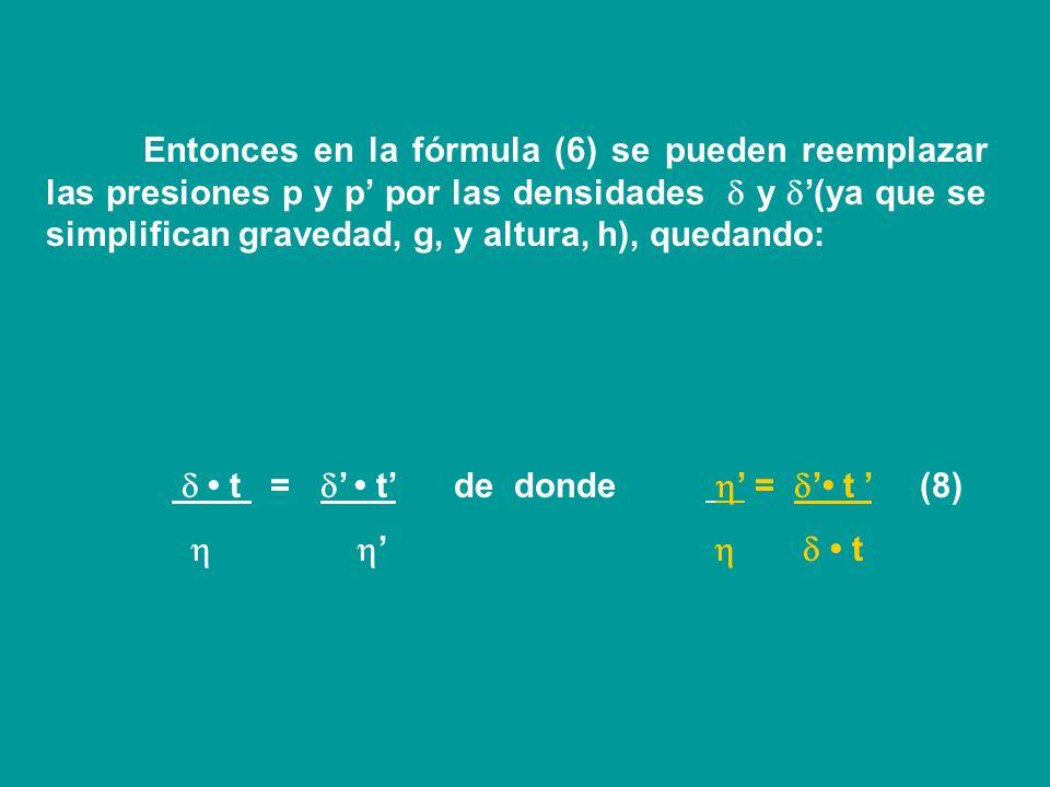 Y como los volúmenes son iguales, también serán iguales los segundos miembros de las ecuaciones (3) y (4), por lo tanto: V agua = V plasma Entonces: r