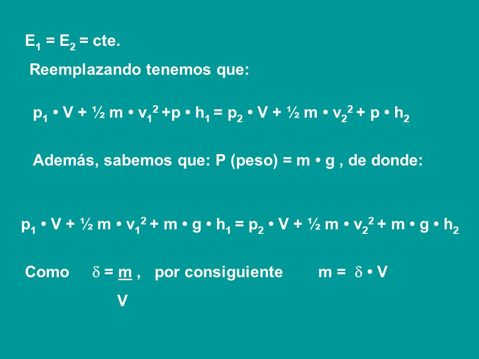 Además, como ese volumen ingresa con una determinada velocidad v 1, el sistema recibirá también una cierta cantidad de Energía cinética (Ec 1 ). Por ú