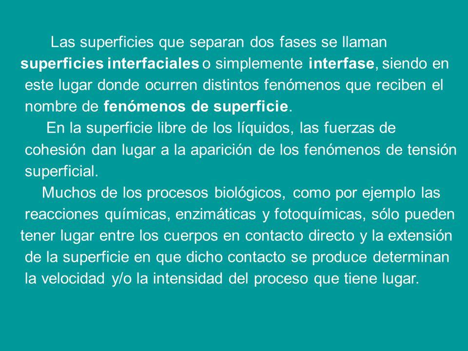 Las superficies que separan dos fases se llaman superficies interfaciales o simplemente interfase, siendo en este lugar donde ocurren distintos fenómenos que reciben el nombre de fenómenos de superficie.
