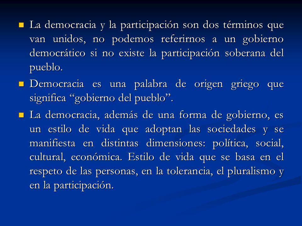 La democracia y la participación son dos términos que van unidos, no podemos referirnos a un gobierno democrático si no existe la participación sobera