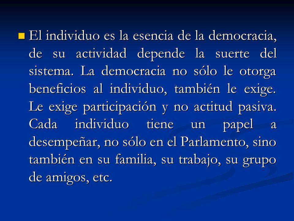 El individuo es la esencia de la democracia, de su actividad depende la suerte del sistema. La democracia no sólo le otorga beneficios al individuo, t