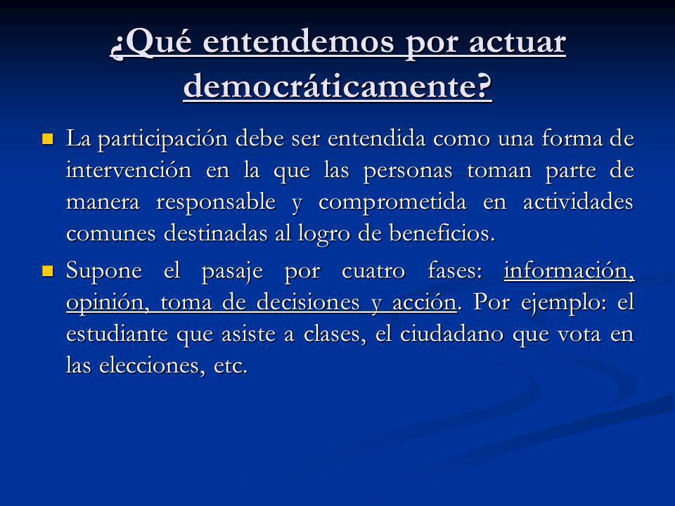 ¿Qué entendemos por actuar democráticamente? La participación debe ser entendida como una forma de intervención en la que las personas toman parte de