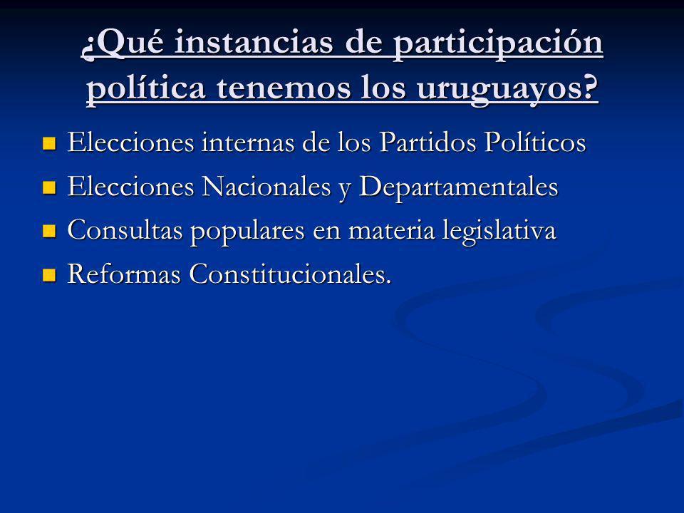 ¿Qué instancias de participación política tenemos los uruguayos? Elecciones internas de los Partidos Políticos Elecciones internas de los Partidos Pol