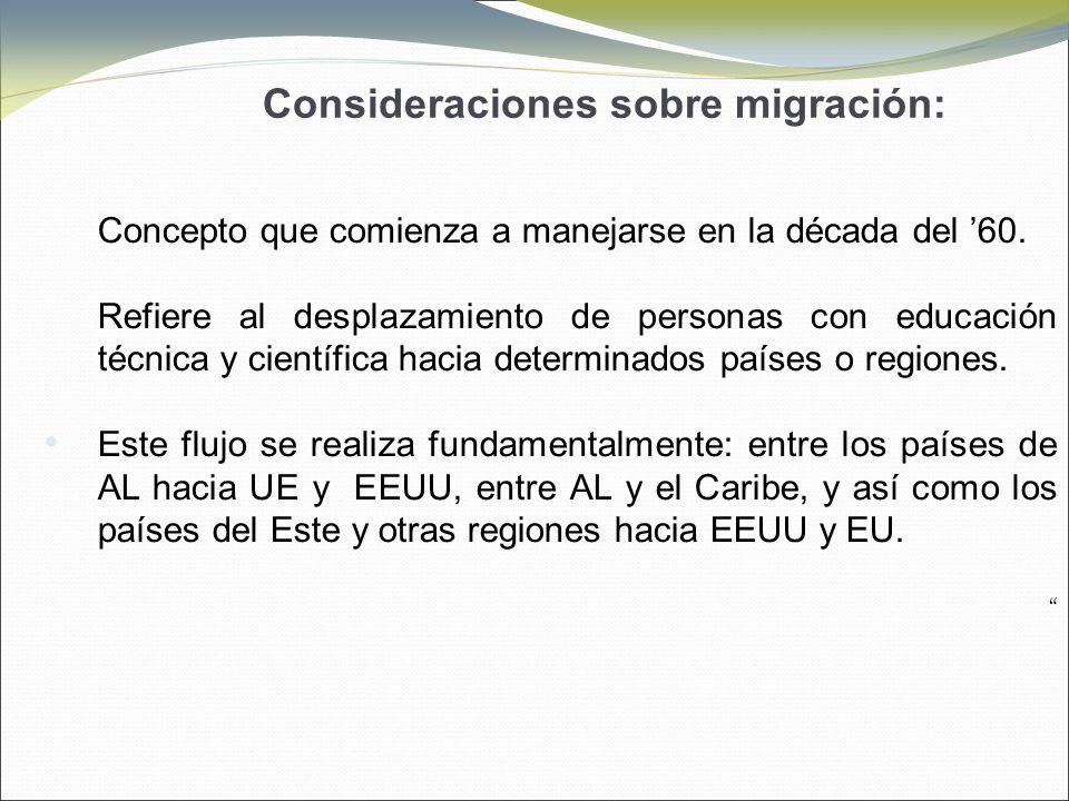 Consideraciones sobre migración: Concepto que comienza a manejarse en la década del 60.
