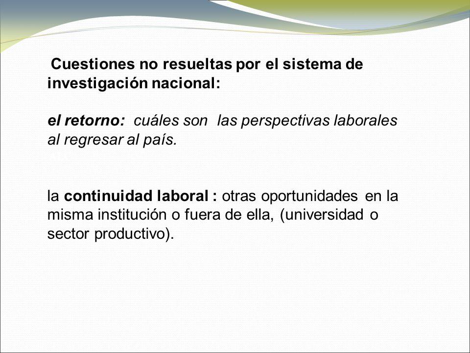 Cuestiones no resueltas por el sistema de investigación nacional: el retorno: cuáles son las perspectivas laborales al regresar al país.