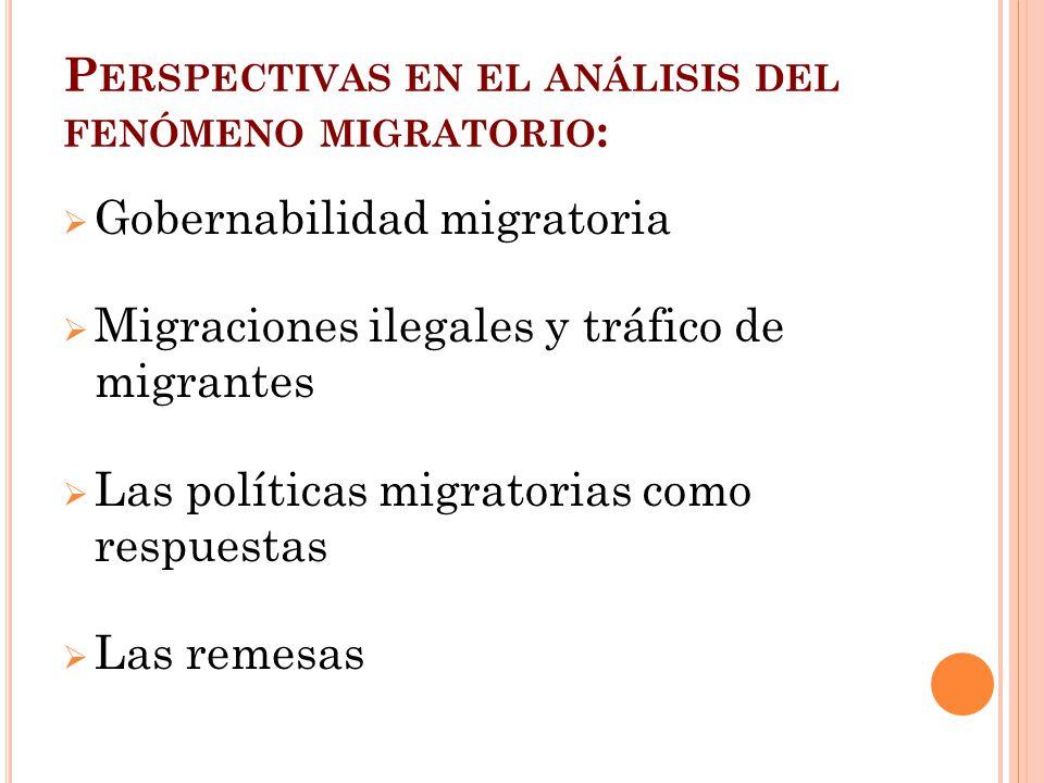 P ERSPECTIVAS EN EL ANÁLISIS DEL FENÓMENO MIGRATORIO : Gobernabilidad migratoria Migraciones ilegales y tráfico de migrantes Las políticas migratorias