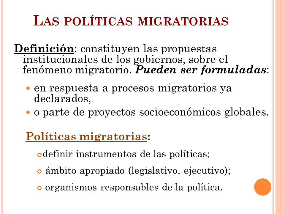 L AS POLÍTICAS MIGRATORIAS Definición : constituyen las propuestas institucionales de los gobiernos, sobre el fenómeno migratorio. Pueden ser formulad