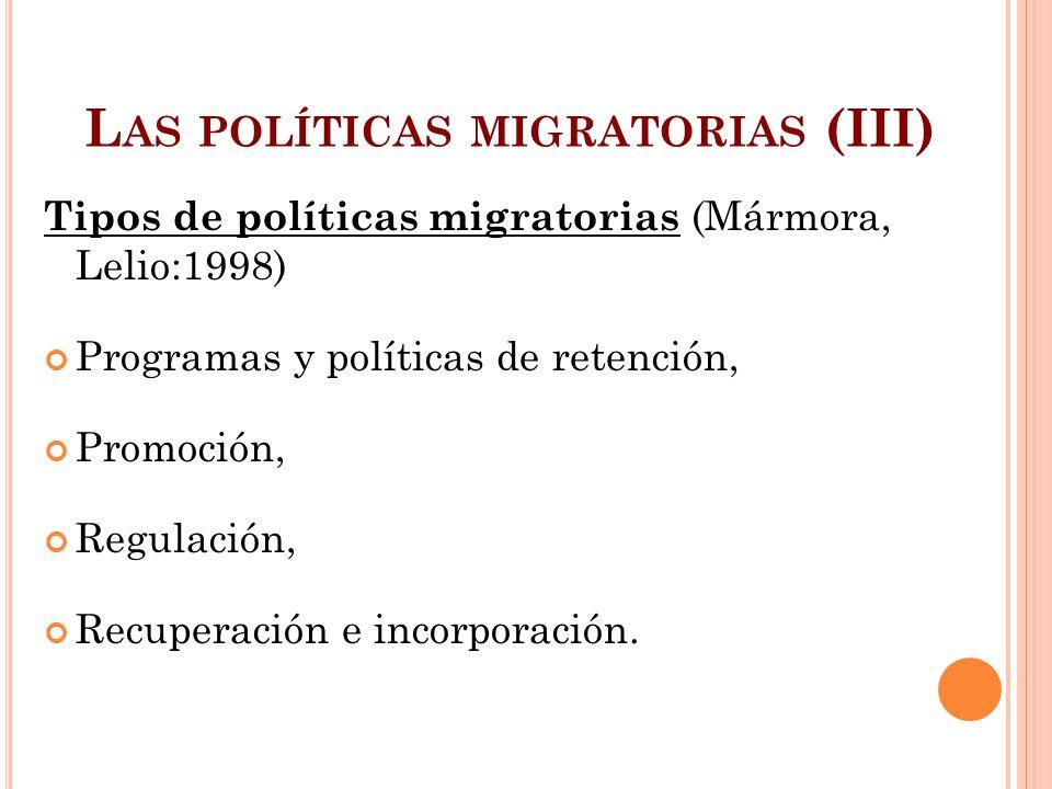 L AS POLÍTICAS MIGRATORIAS (III) Tipos de políticas migratorias (Mármora, Lelio:1998) Programas y políticas de retención, Promoción, Regulación, Recup