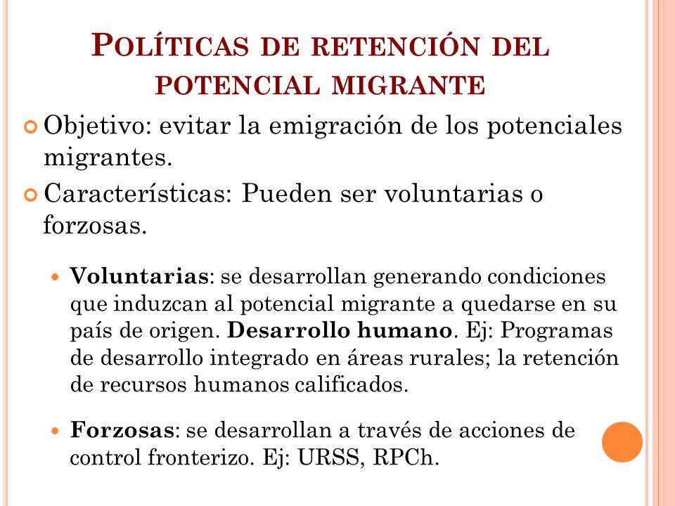 P OLÍTICAS DE RETENCIÓN DEL POTENCIAL MIGRANTE Objetivo: evitar la emigración de los potenciales migrantes. Características: Pueden ser voluntarias o