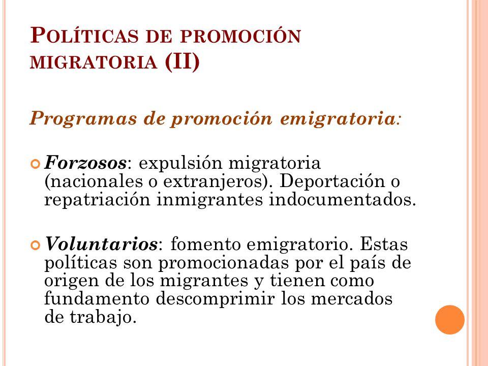 P OLÍTICAS DE PROMOCIÓN MIGRATORIA (II) Programas de promoción emigratoria : Forzosos : expulsión migratoria (nacionales o extranjeros). Deportación o