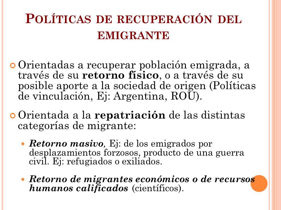 P OLÍTICAS DE RECUPERACIÓN DEL EMIGRANTE Orientadas a recuperar población emigrada, a través de su retorno físico, o a través de su posible aporte a l