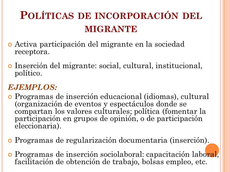 P OLÍTICAS DE INCORPORACIÓN DEL MIGRANTE Activa participación del migrante en la sociedad receptora. Inserción del migrante: social, cultural, institu