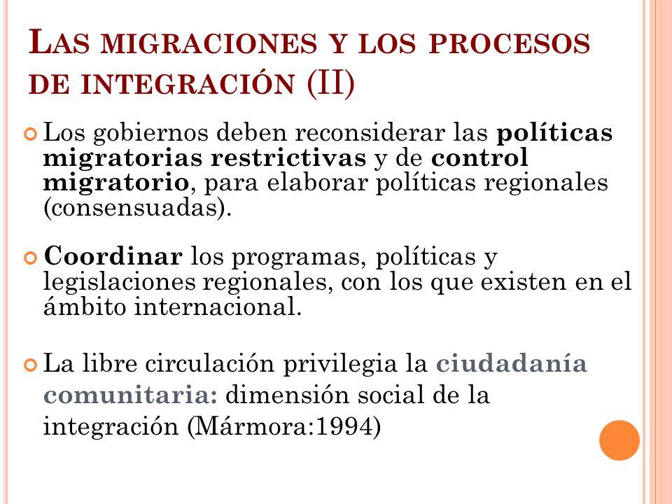 L AS MIGRACIONES Y LOS PROCESOS DE INTEGRACIÓN (II) Los gobiernos deben reconsiderar las políticas migratorias restrictivas y de control migratorio, p