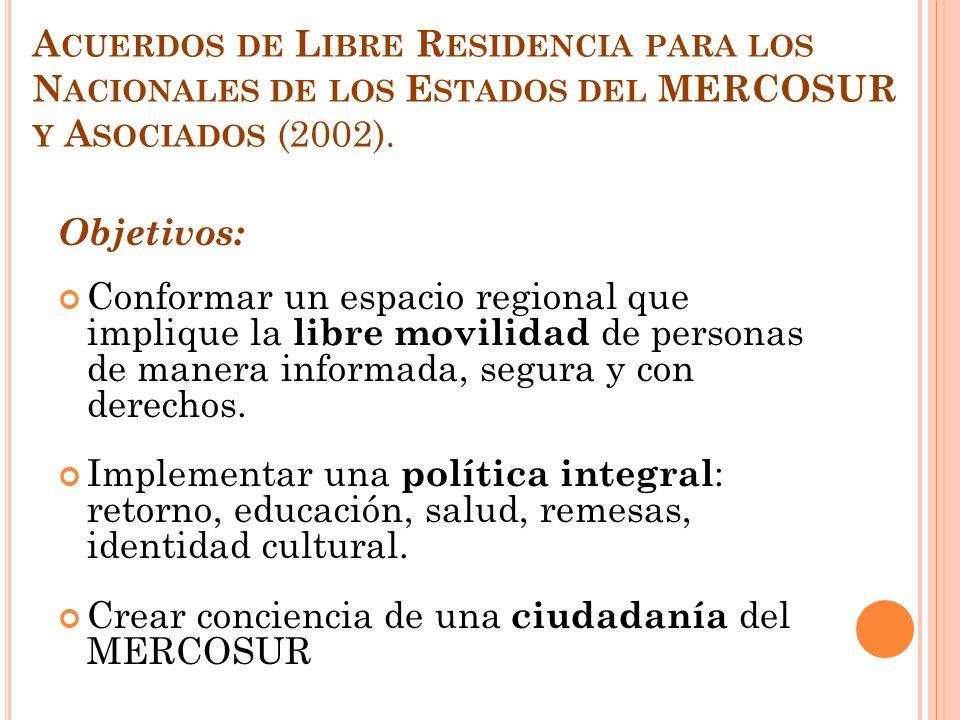 A CUERDOS DE L IBRE R ESIDENCIA PARA LOS N ACIONALES DE LOS E STADOS DEL MERCOSUR Y A SOCIADOS (2002). Objetivos: Conformar un espacio regional que im