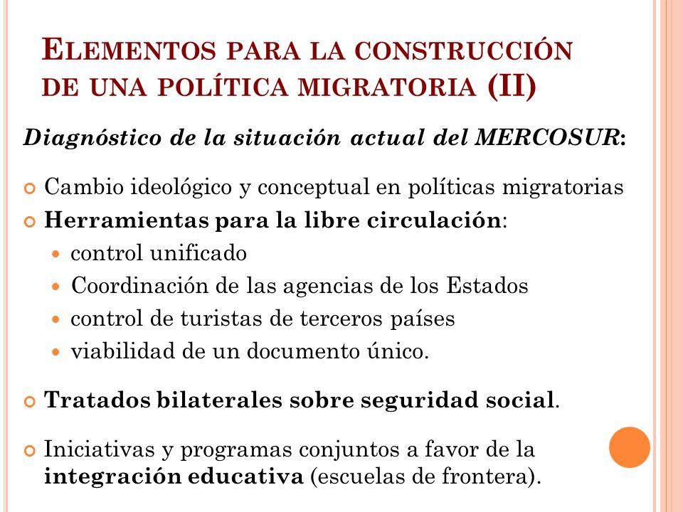 E LEMENTOS PARA LA CONSTRUCCIÓN DE UNA POLÍTICA MIGRATORIA (II) Diagnóstico de la situación actual del MERCOSUR : Cambio ideológico y conceptual en po