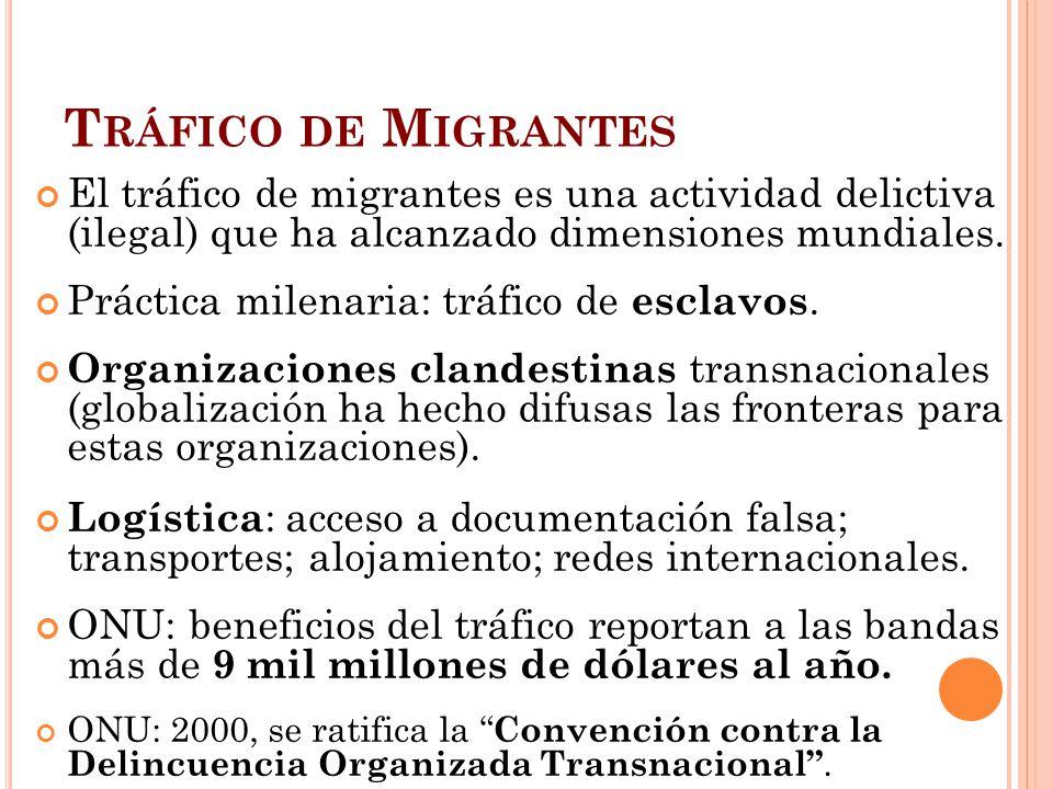 T RÁFICO DE M IGRANTES El tráfico de migrantes es una actividad delictiva (ilegal) que ha alcanzado dimensiones mundiales. Práctica milenaria: tráfico