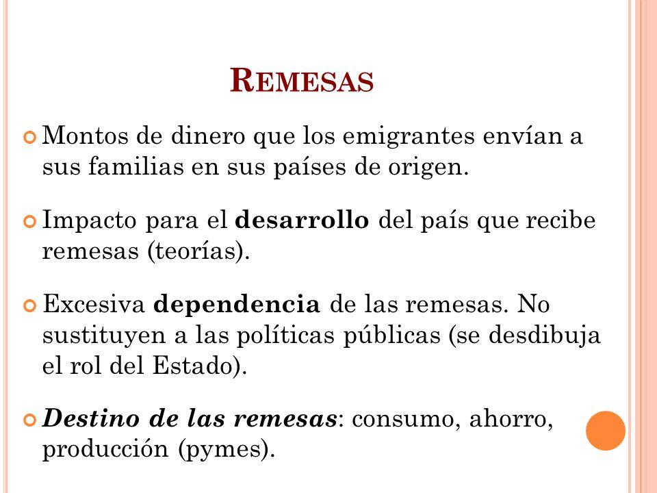 P OLÍTICAS DE RECUPERACIÓN DEL EMIGRANTE Orientadas a recuperar población emigrada, a través de su retorno físico, o a través de su posible aporte a la sociedad de origen (Políticas de vinculación, Ej: Argentina, ROU).