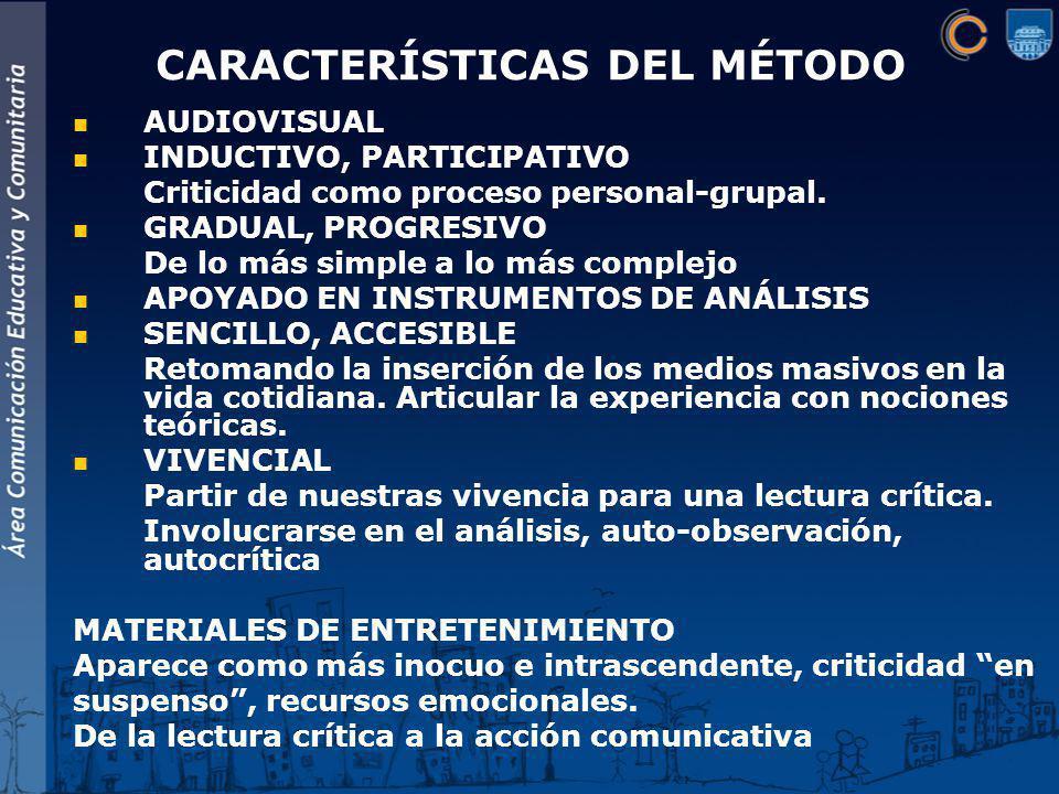 AUDIOVISUAL INDUCTIVO, PARTICIPATIVO Criticidad como proceso personal-grupal.