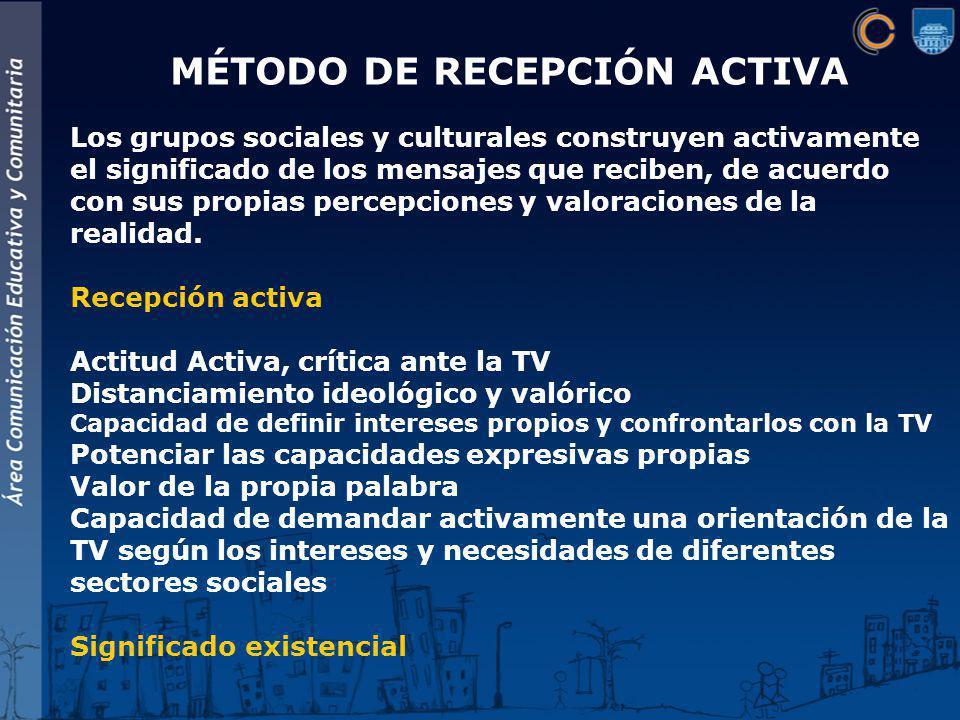 MÉTODO DE RECEPCIÓN ACTIVA Los grupos sociales y culturales construyen activamente el significado de los mensajes que reciben, de acuerdo con sus propias percepciones y valoraciones de la realidad.
