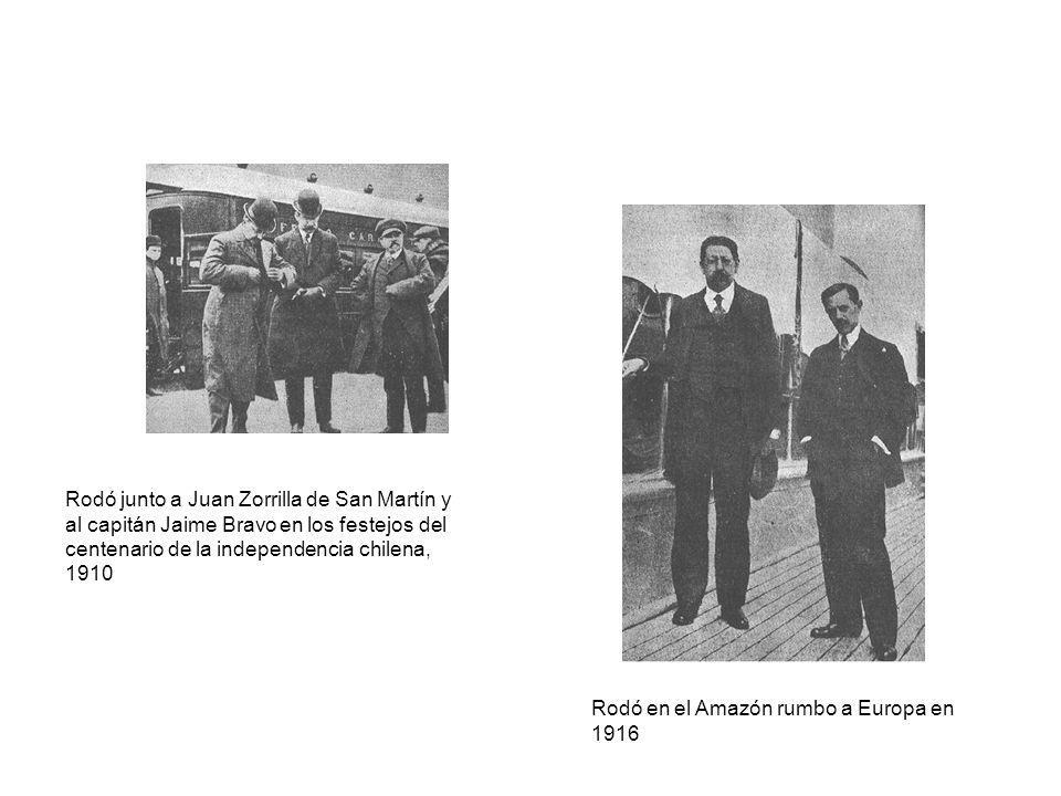 Rodó junto a Juan Zorrilla de San Martín y al capitán Jaime Bravo en los festejos del centenario de la independencia chilena, 1910 Rodó en el Amazón r