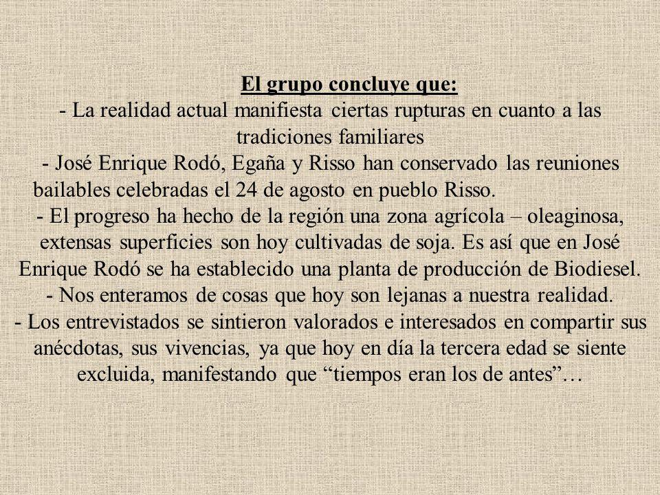 El grupo concluye que: - La realidad actual manifiesta ciertas rupturas en cuanto a las tradiciones familiares - José Enrique Rodó, Egaña y Risso han conservado las reuniones bailables celebradas el 24 de agosto en pueblo Risso.