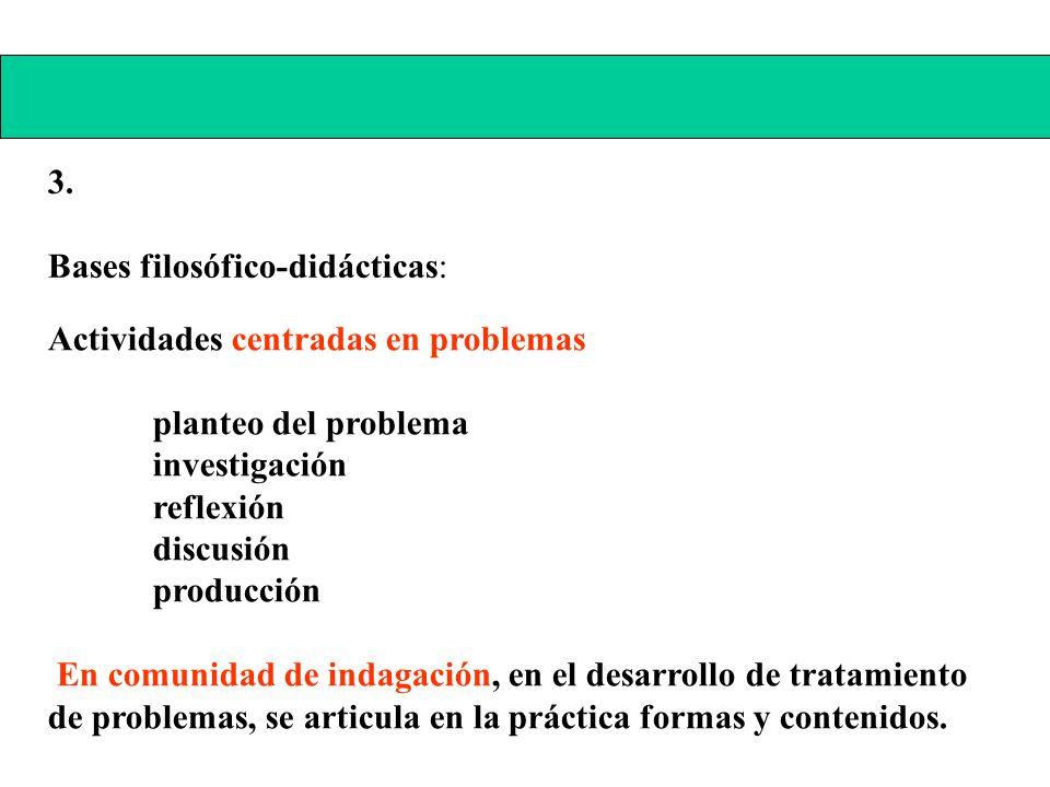 3. Bases filosófico-didácticas: Actividades centradas en problemas planteo del problema investigación reflexión discusión producción En comunidad de i