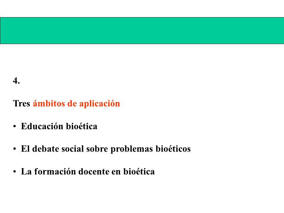 4. Tres ámbitos de aplicación Educación bioética El debate social sobre problemas bioéticos La formación docente en bioética