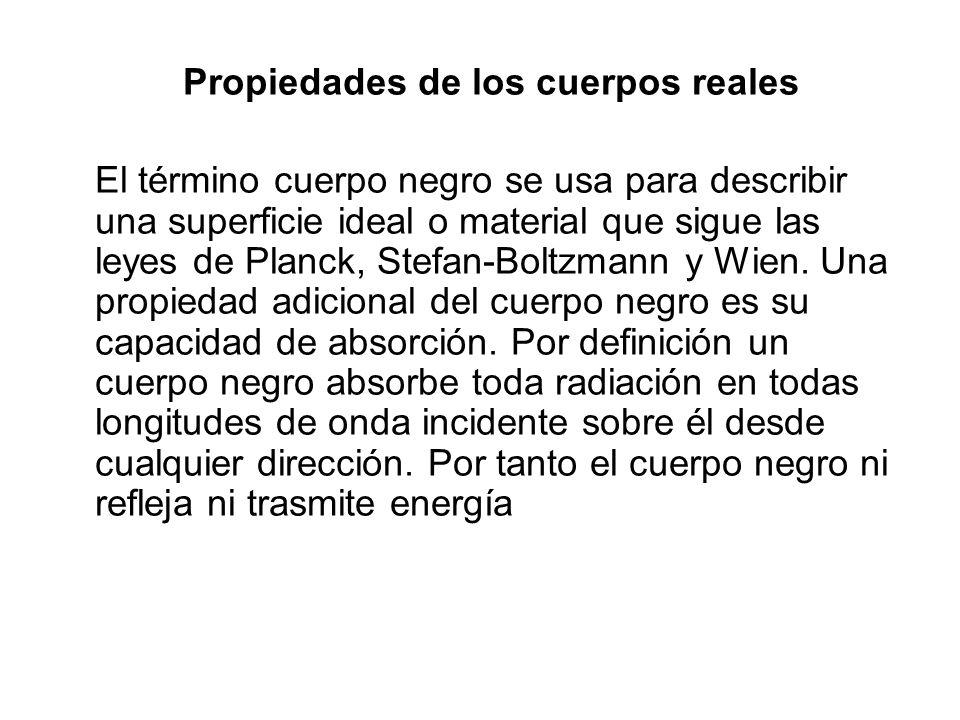Propiedades de los cuerpos reales El término cuerpo negro se usa para describir una superficie ideal o material que sigue las leyes de Planck, Stefan-