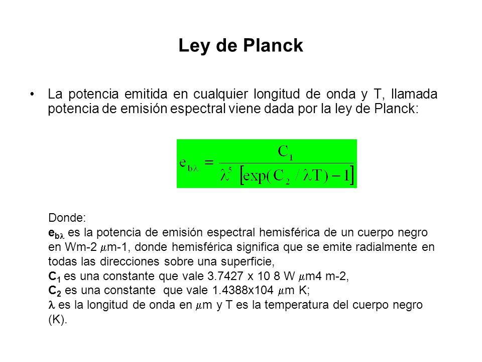 Ley de Planck La potencia emitida en cualquier longitud de onda y T, llamada potencia de emisión espectral viene dada por la ley de Planck: Donde: e b