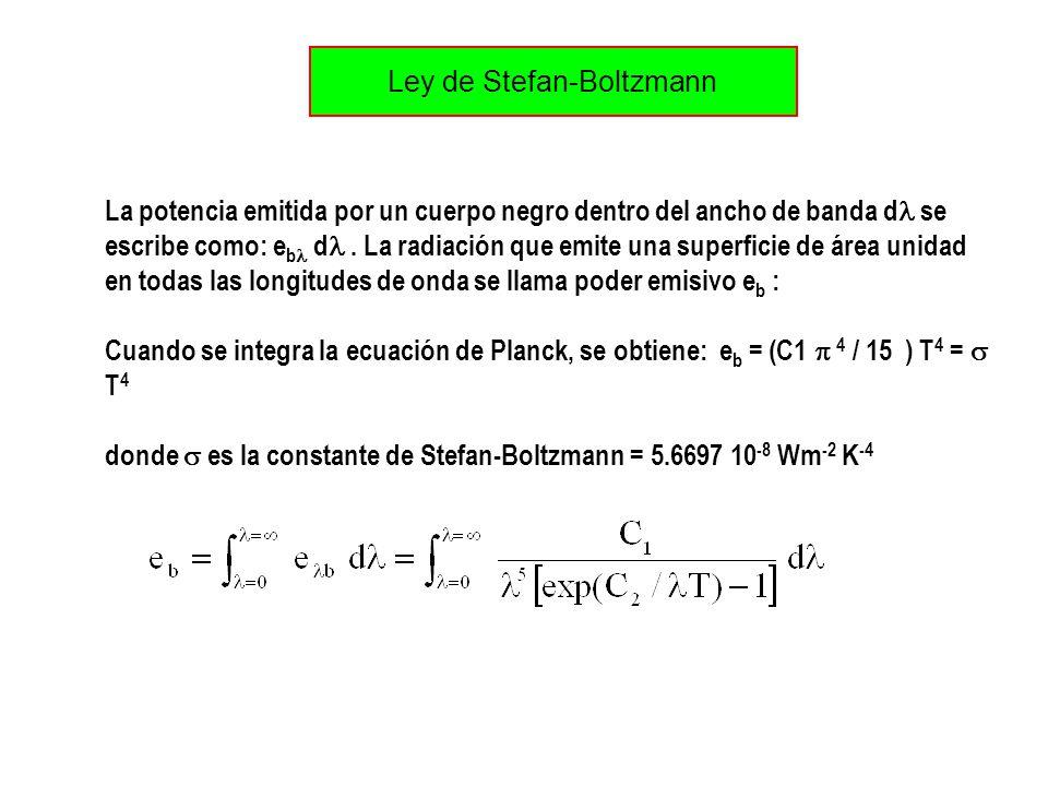Ley de Stefan-Boltzmann La potencia emitida por un cuerpo negro dentro del ancho de banda d se escribe como: e b d. La radiación que emite una superfi