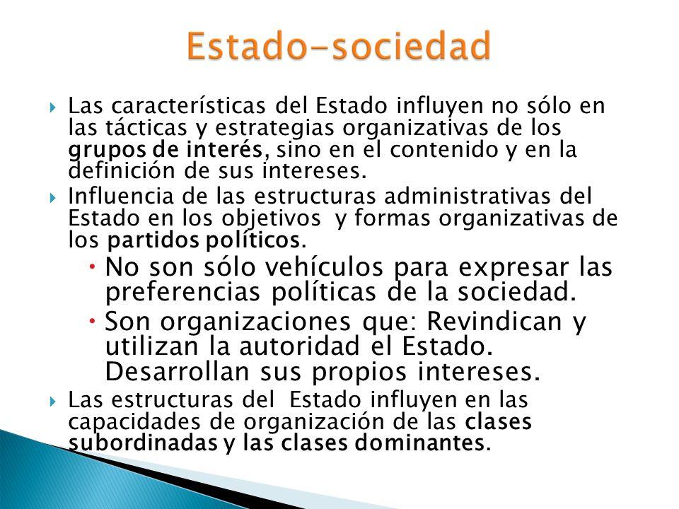 Las características del Estado influyen no sólo en las tácticas y estrategias organizativas de los grupos de interés, sino en el contenido y en la def