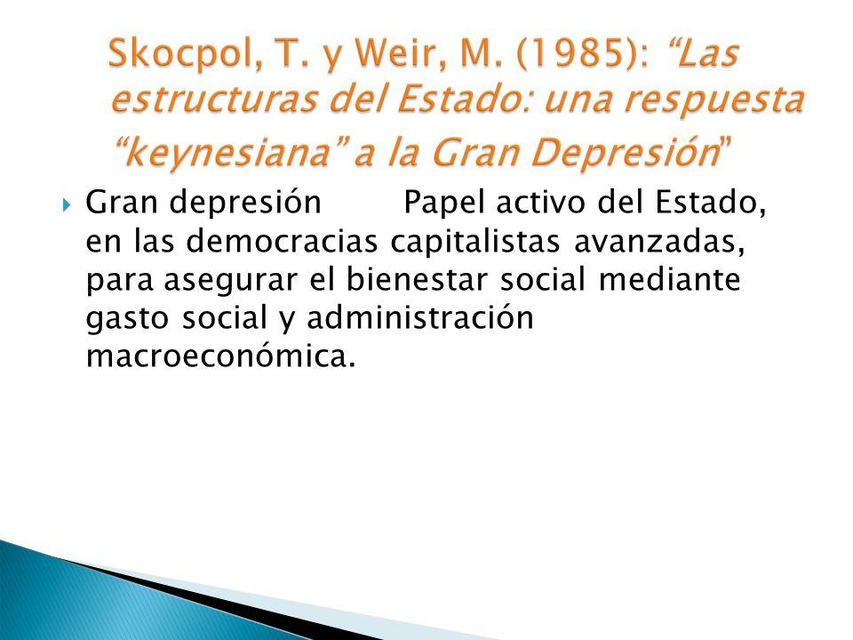 Gran depresión Papel activo del Estado, en las democracias capitalistas avanzadas, para asegurar el bienestar social mediante gasto social y administr