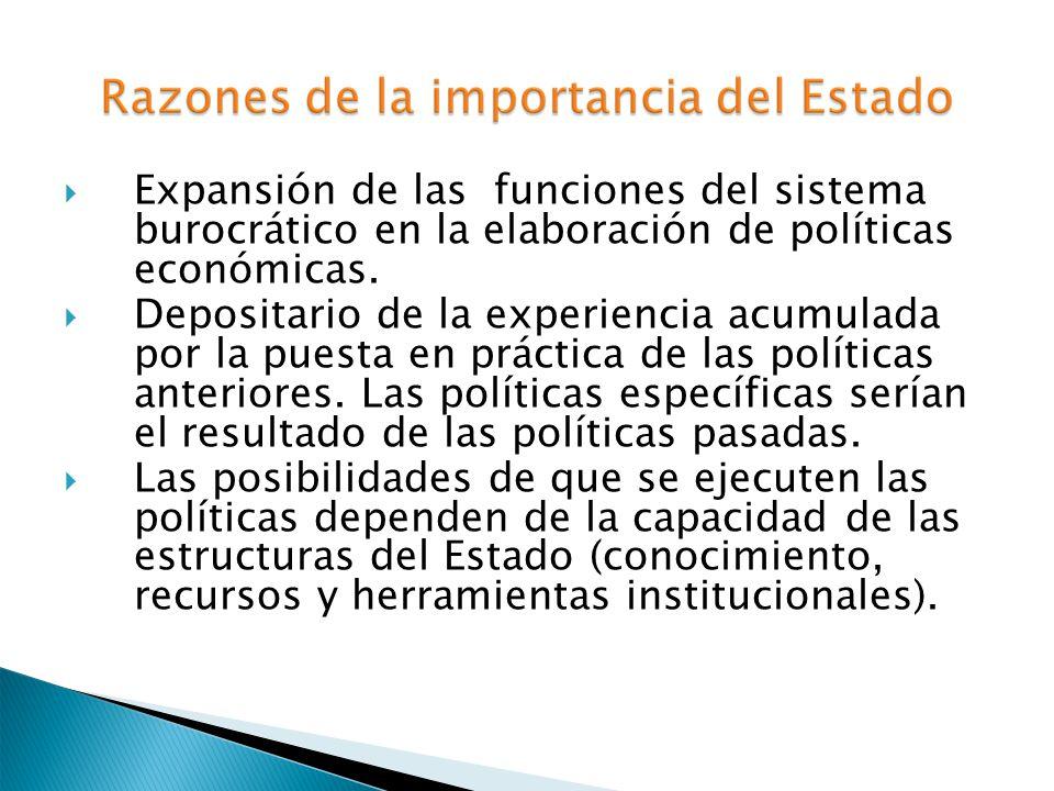 Expansión de las funciones del sistema burocrático en la elaboración de políticas económicas. Depositario de la experiencia acumulada por la puesta en
