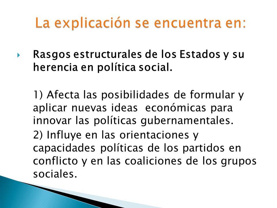 Rasgos estructurales de los Estados y su herencia en política social. 1) Afecta las posibilidades de formular y aplicar nuevas ideas económicas para i