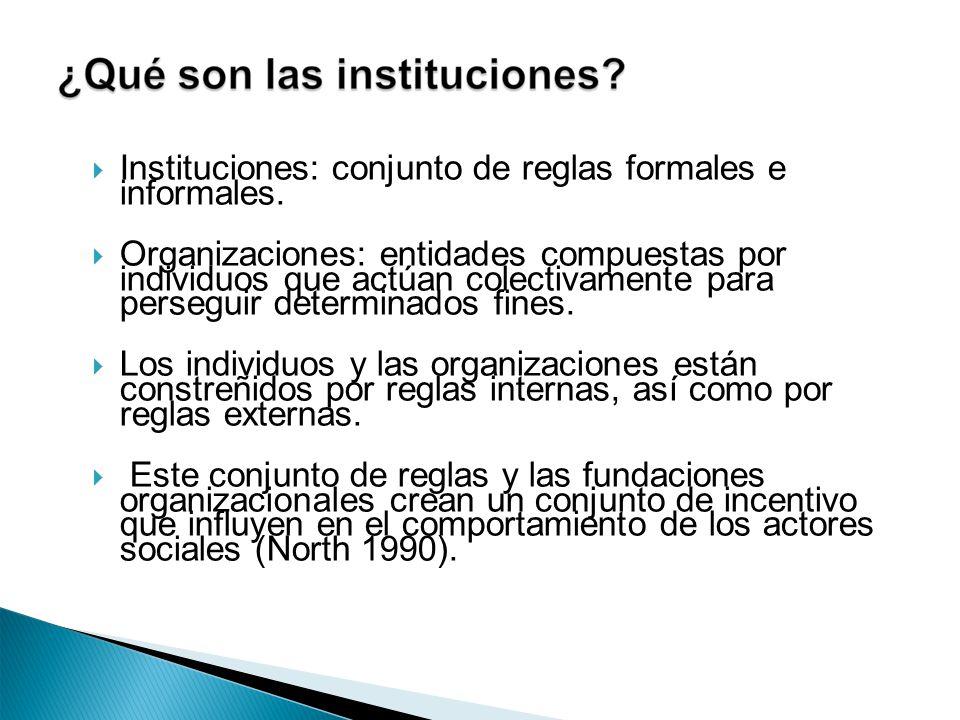 Instituciones: conjunto de reglas formales e informales. Organizaciones: entidades compuestas por individuos que actúan colectivamente para perseguir