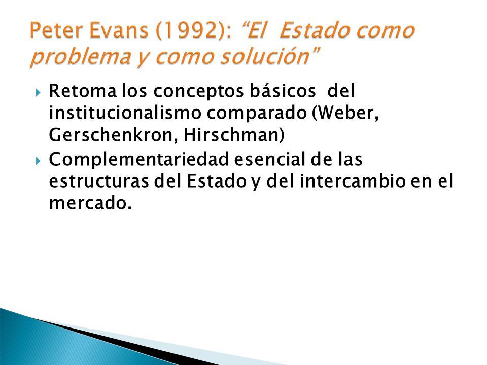 Retoma los conceptos básicos del institucionalismo comparado (Weber, Gerschenkron, Hirschman) Complementariedad esencial de las estructuras del Estado