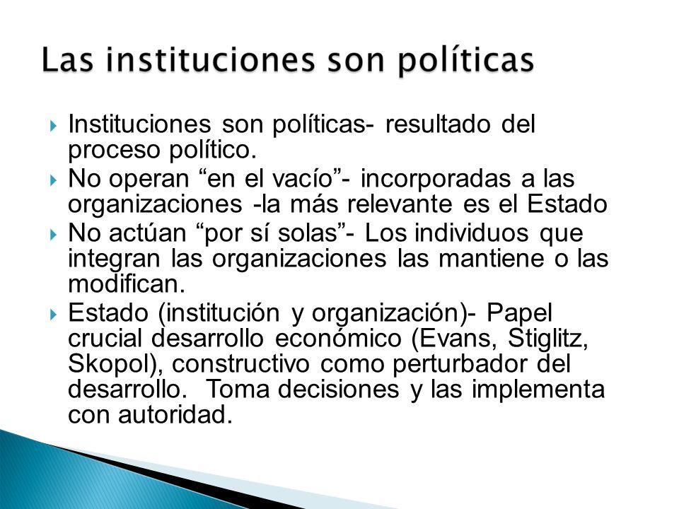 Instituciones son políticas- resultado del proceso político. No operan en el vacío- incorporadas a las organizaciones -la más relevante es el Estado N