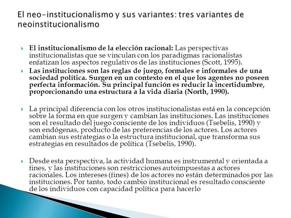 El institucionalismo de la elección racional: Las perspectivas institucionalistas que se vinculan con los paradigmas racionalistas enfatizan los aspec