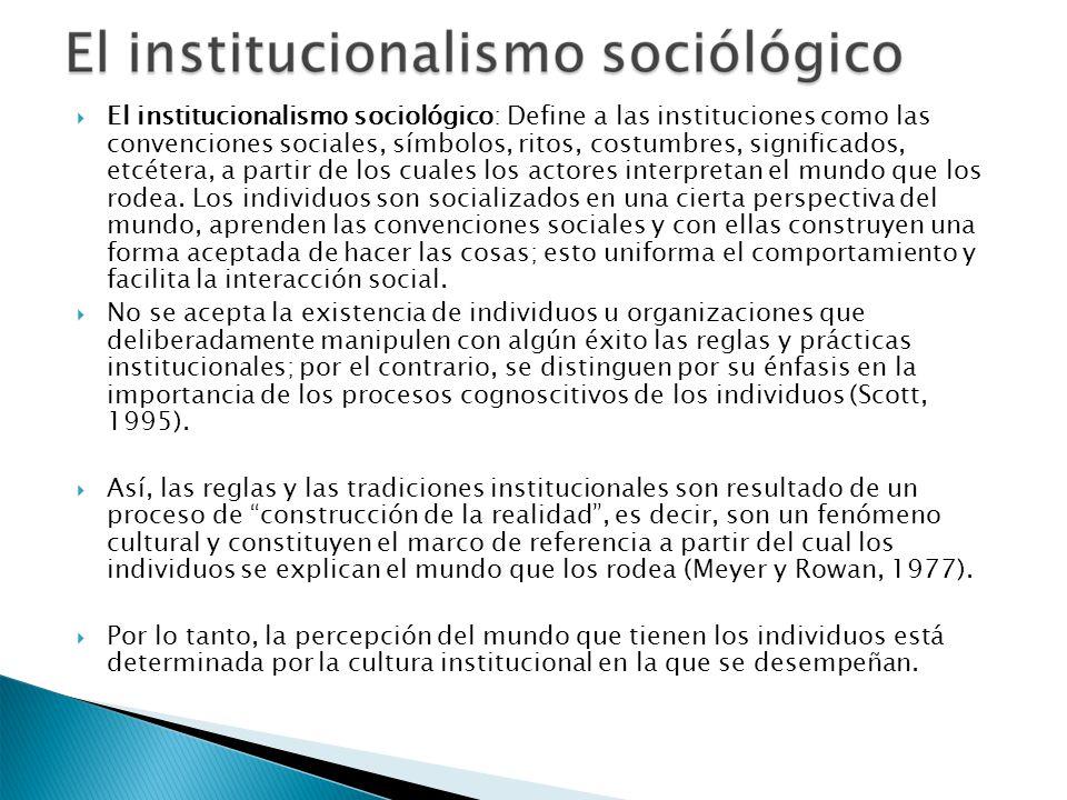 El institucionalismo sociológico: Define a las instituciones como las convenciones sociales, símbolos, ritos, costumbres, significados, etcétera, a pa