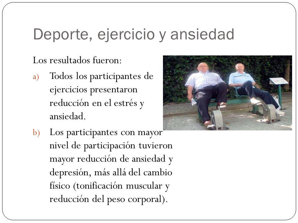 Deporte, ejercicio y ansiedad Los resultados fueron: a) Todos los participantes de ejercicios presentaron reducción en el estrés y ansiedad.