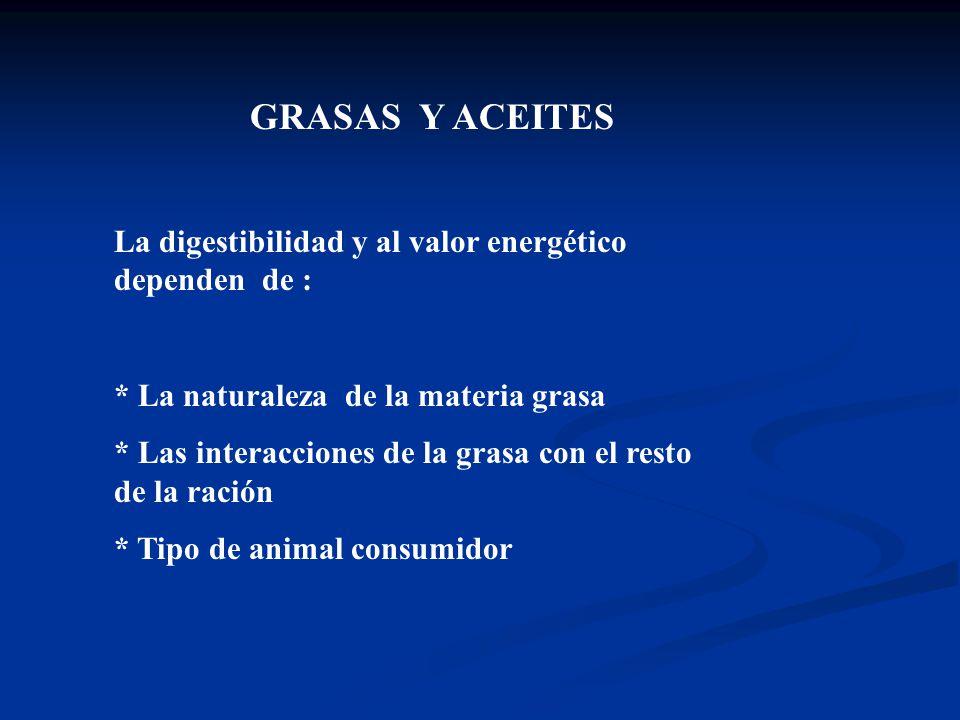 GRASAS Y ACEITES La digestibilidad y al valor energético dependen de : * La naturaleza de la materia grasa * Las interacciones de la grasa con el rest