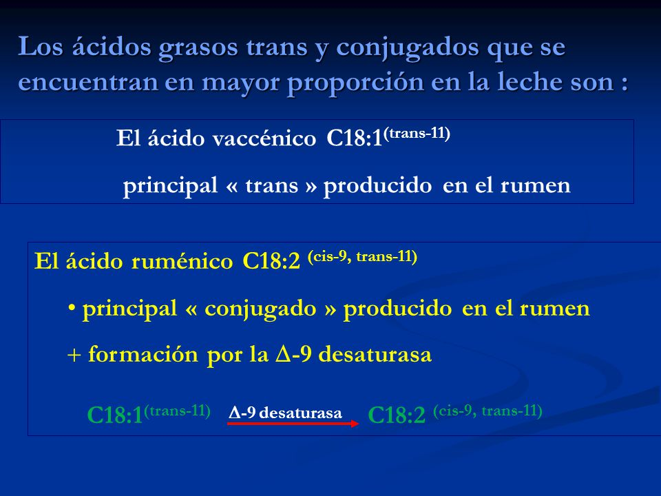 Los ácidos grasos trans y conjugados que se encuentran en mayor proporción en la leche son : El ácido ruménico C18:2 (cis-9, trans-11) principal « con