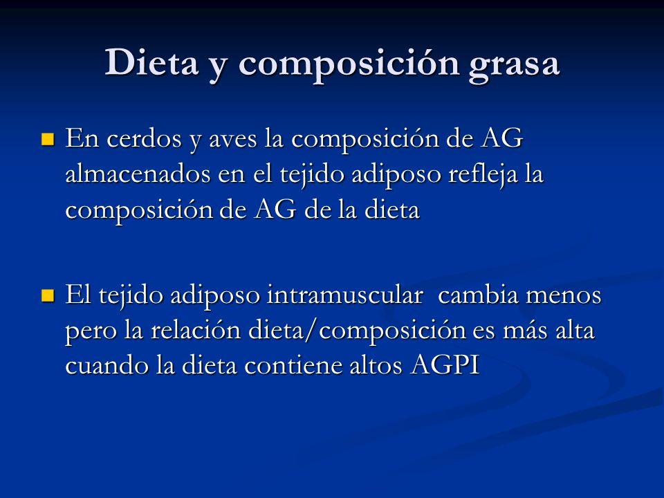 Dieta y composición grasa En cerdos y aves la composición de AG almacenados en el tejido adiposo refleja la composición de AG de la dieta En cerdos y