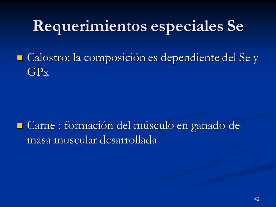 Requerimientos especiales Se Calostro: la composición es dependiente del Se y GPx Calostro: la composición es dependiente del Se y GPx Carne : formaci