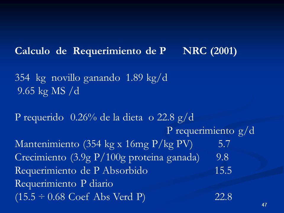 47 Calculo de Requerimiento de P NRC (2001) 354 kg novillo ganando 1.89 kg/d 9.65 kg MS /d P requerido 0.26% de la dieta o 22.8 g/d P requerimiento g/