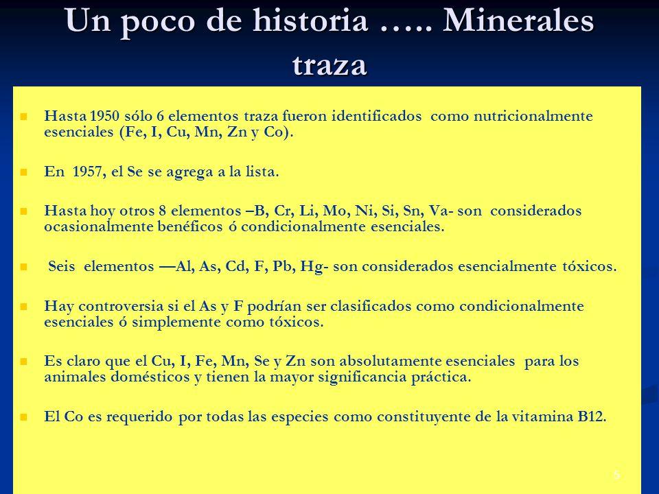 Un poco de historia ….. Minerales traza Hasta 1950 sólo 6 elementos traza fueron identificados como nutricionalmente esenciales (Fe, I, Cu, Mn, Zn y C